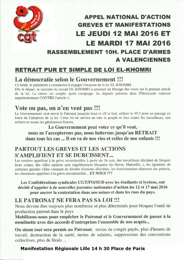 TRACT RECTIFIE APPEL Loi Travail 12 et 17 MAI 2016